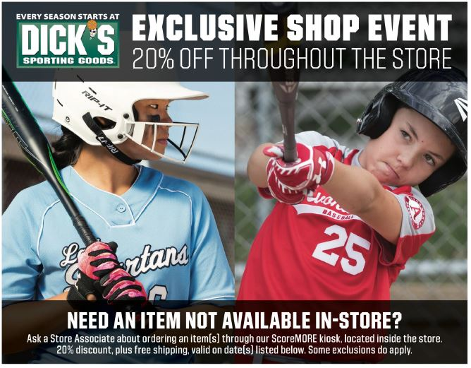DICK'S SPORTING GOODS – APPRECIATION DAY – 4/7 TO 4/8